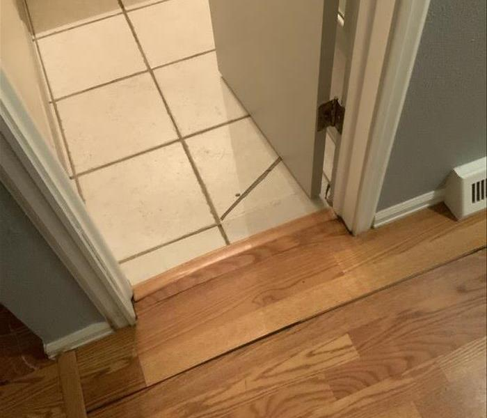 Entry way between wood flooring and a tile room.