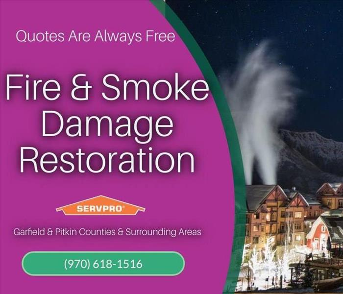 Graphic of fire & smoke damage restoration with photo of aspen co